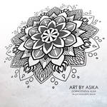 Mandala, lotos (tattoo flash, dotwork, ornamental)
