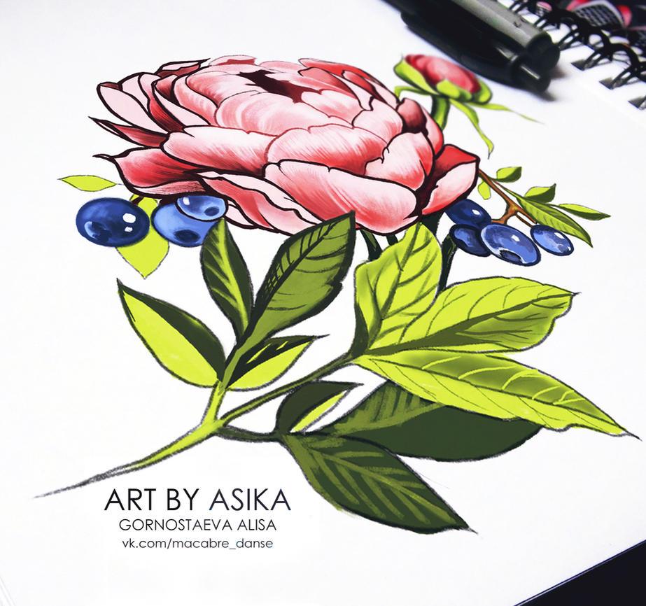 Peony. Tattoo flash. Tattoo sketch by AsikaArt