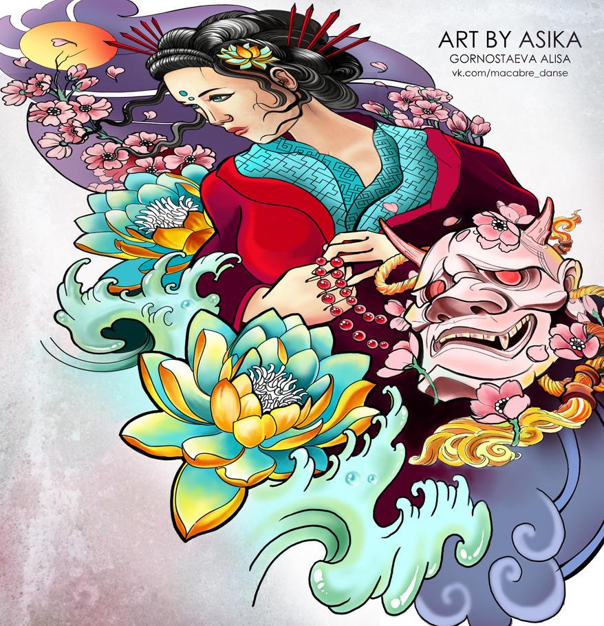 Geisha. Tattoo sketch, tattoo flash. by AsikaArt