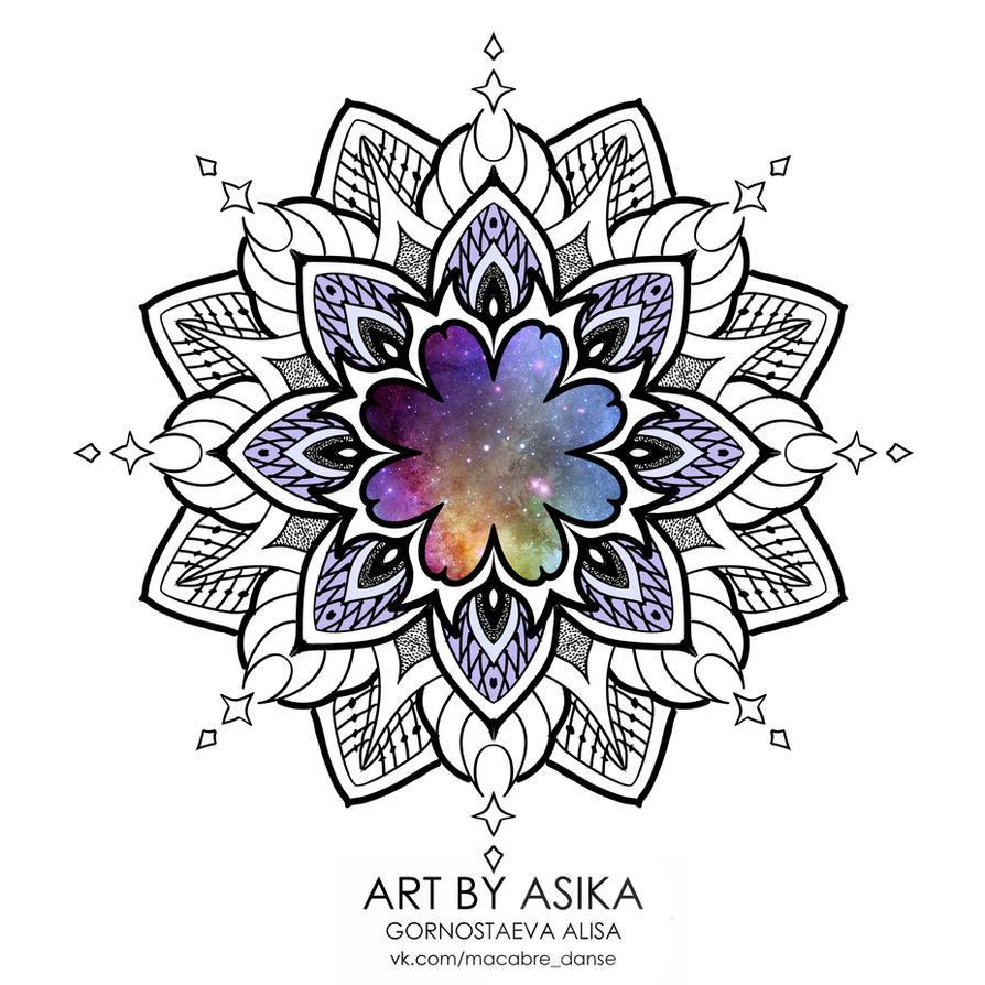 Mandala. Tattoo flash. Tattoo sketch. by AsikaArt