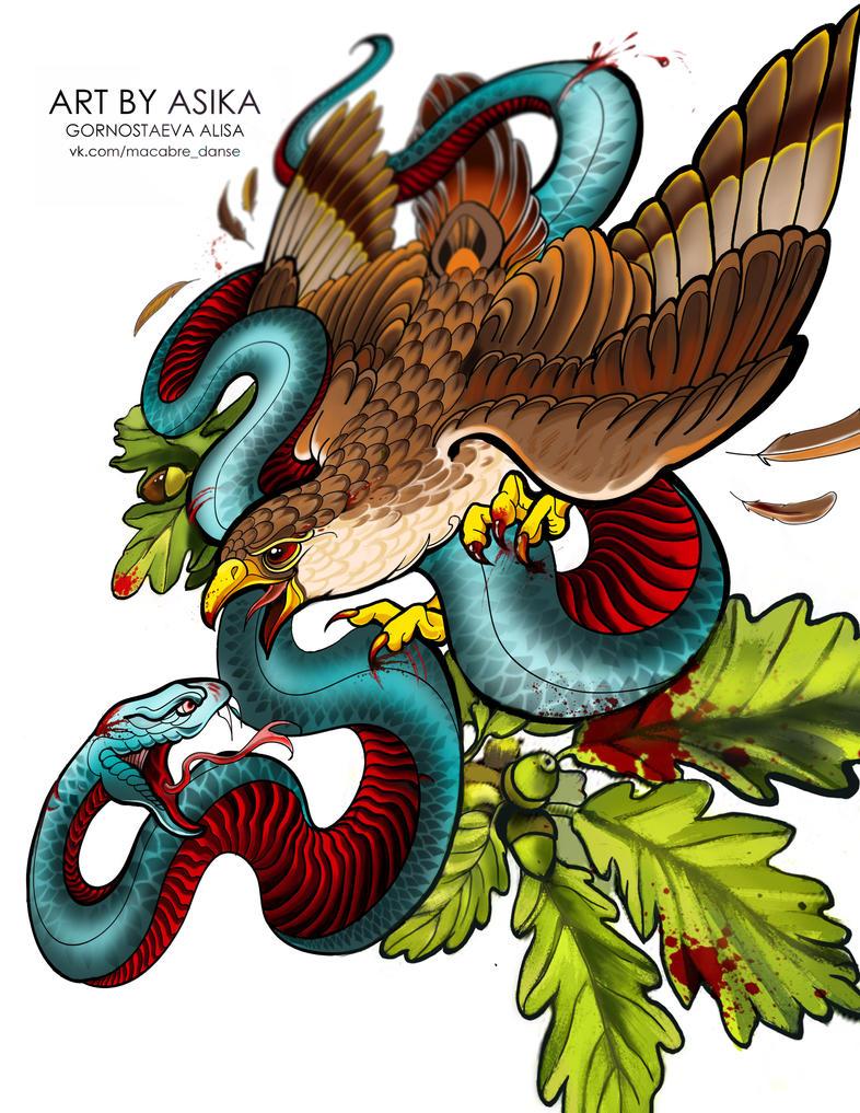 Hawk. snake. Tattoo, neotrad. by AsikaArt