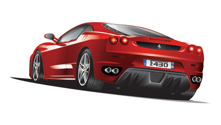 Free Illustrated Ferrari Car by loswl