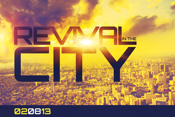 Revival in the city church flyer template by loswl on for Free church revival flyer template