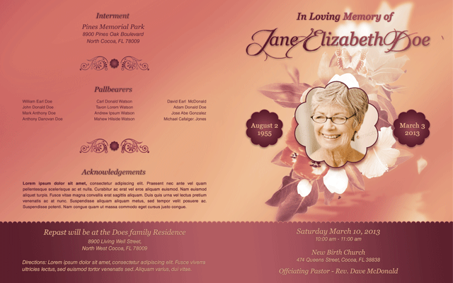Funeral Program Template 001 By Loswl ...  Free Printable Funeral Programs Templates