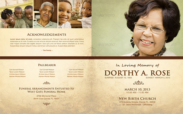 In Loving Memory Funeral Program Template 005 By Loswl ...  Free Funeral Templates Download