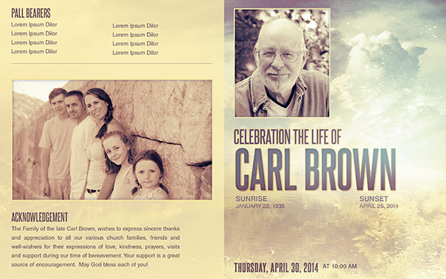 Celebrating the life funeral program template 014 by loswl for Free celebration of life program template