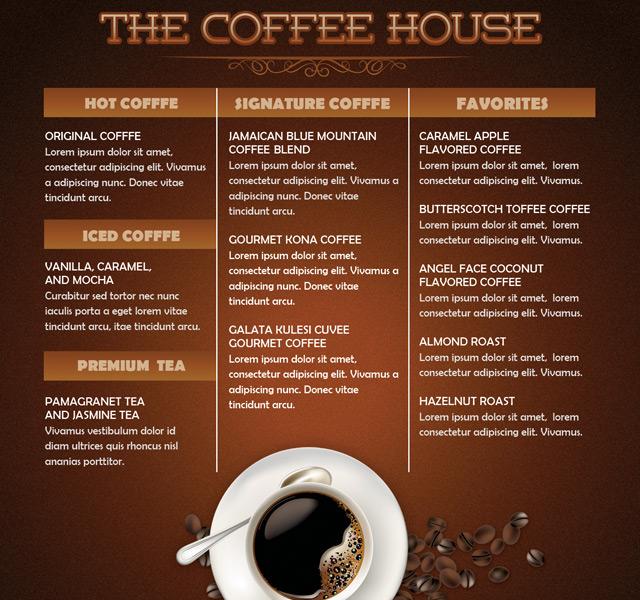 Coffee Shop Menu Template   Coffee House Mini Menu Flyer Template By Loswl  On Deviantart