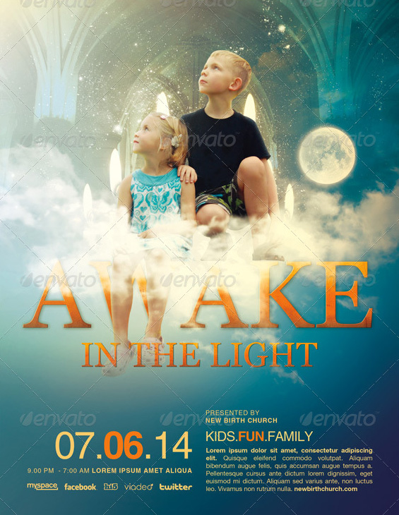 Awake in the Light Church Flyer Template by loswl on DeviantArt