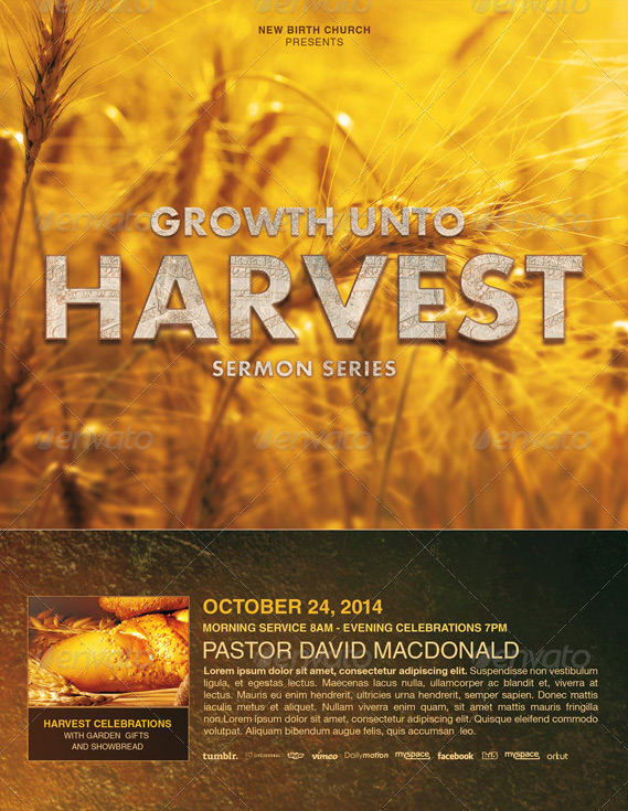 growth unto harvest church flyer template by loswl