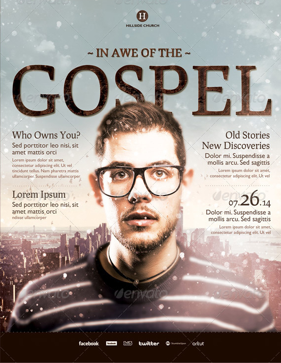 in awe of the gospel church flyer template by loswl