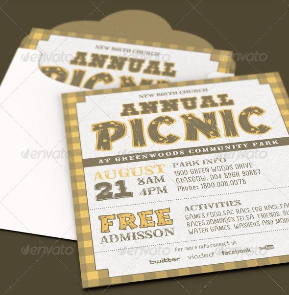 Annual Church Picnic Invite Card Template By Loswl On