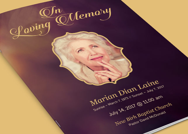 In Loving Memory Funeral Program Template by loswl