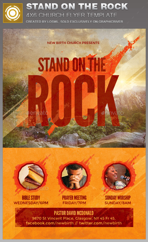 Stand on the Rock Church Flyer Template by loswl