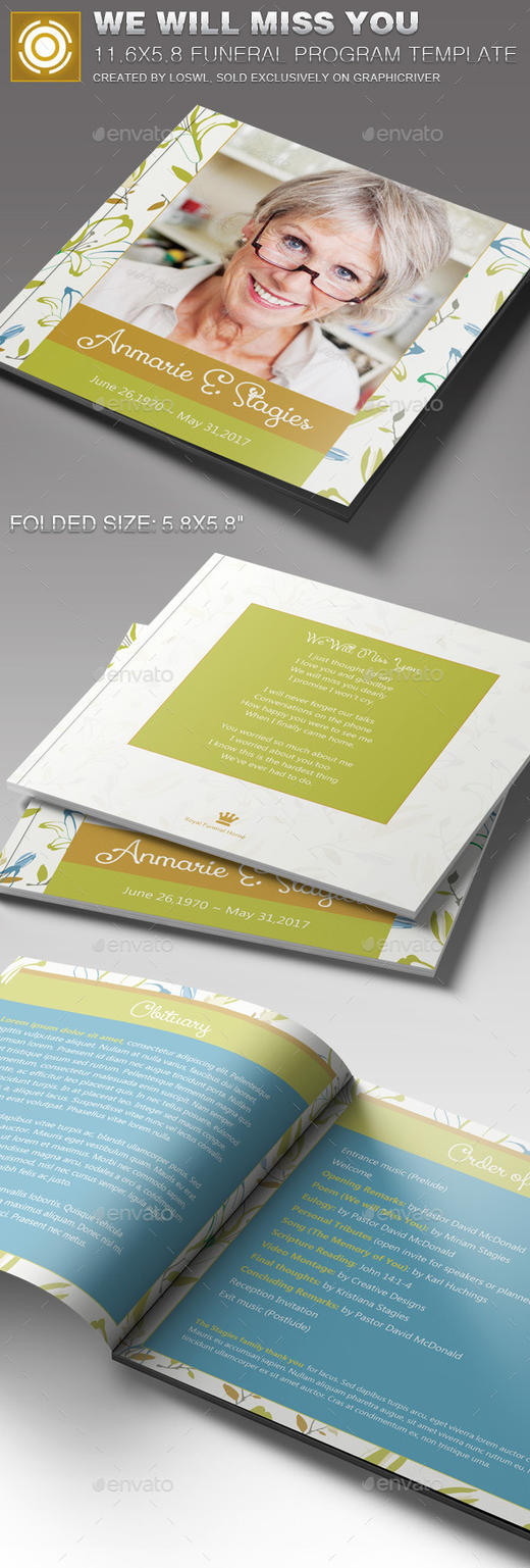 We Will Miss You Funeral Program Template by loswl