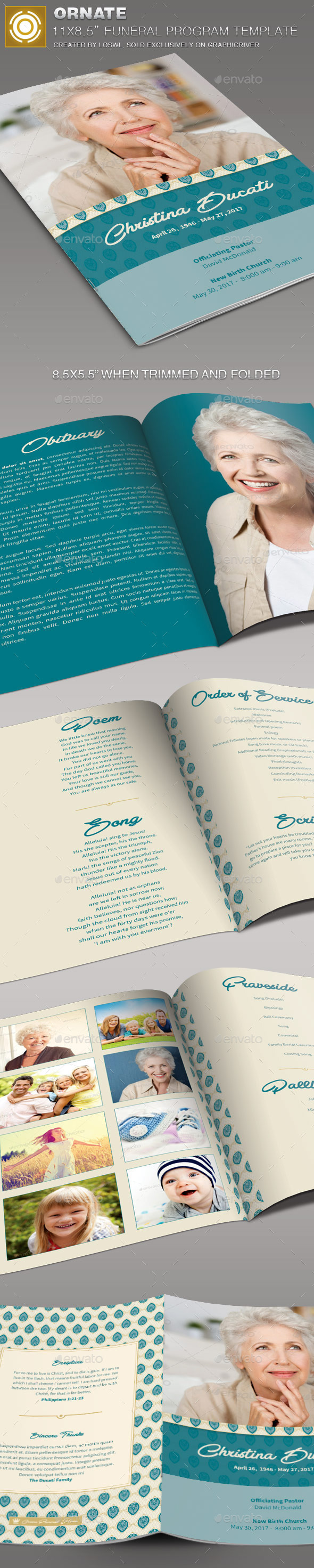 Ornate funeral program template by loswl on deviantart for Program brochure templates