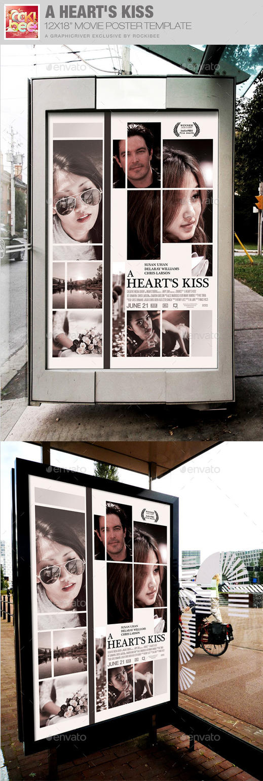 A Heart's Kiss Movie Poster Template by loswl