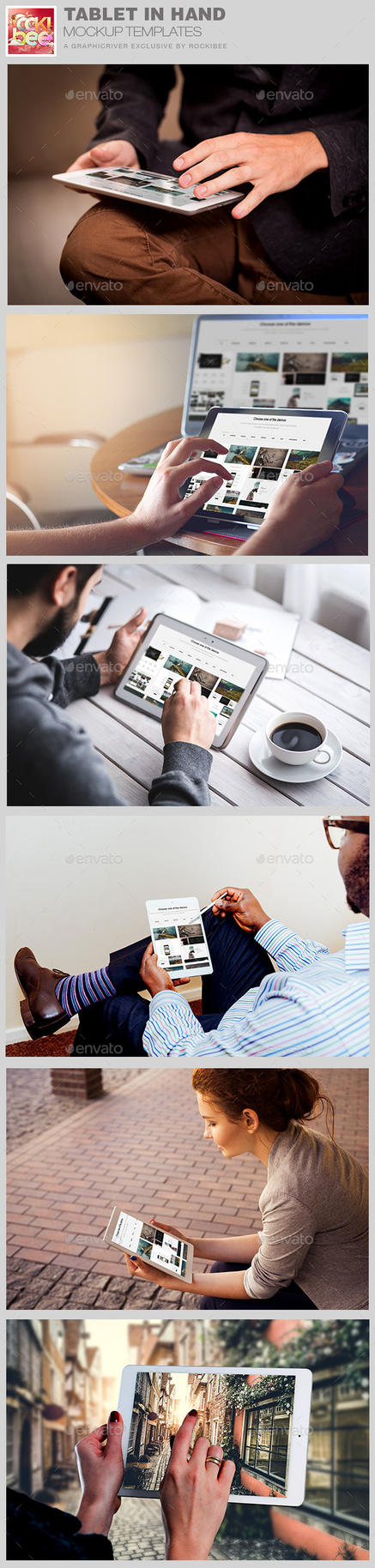 Tablet in Hand Mockup Template by loswl