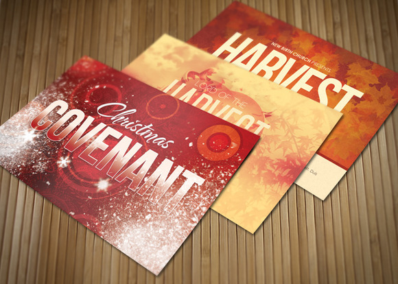 Holiday Church Postcard Template Bundle by loswl