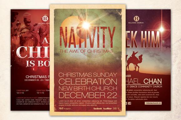 Christmas Church Flyer Bundle by loswl