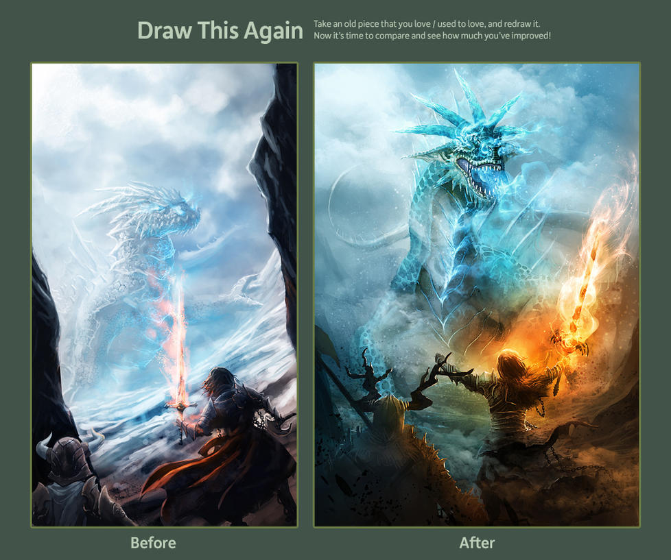 Draw this again : Ice dragon by Athayar