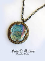Blue and Gold Pendant by ArteDiAmore