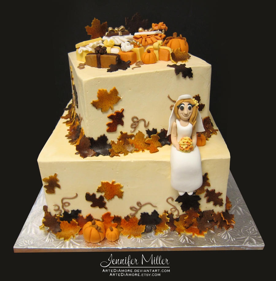 Autumn Bridal Shower Cake by ArteDiAmore on DeviantArt