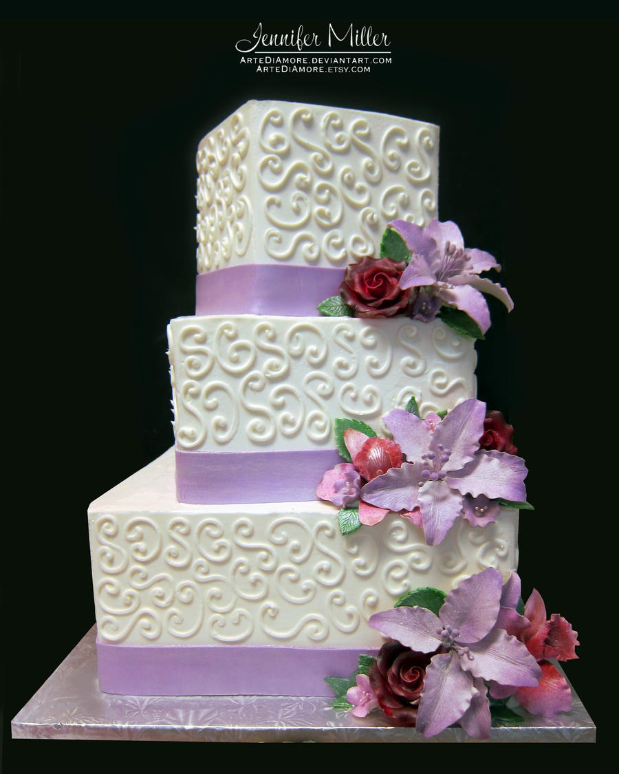 Lavender Lilies Wedding Cake by ArteDiAmore