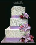 Lavender Lilies Wedding Cake