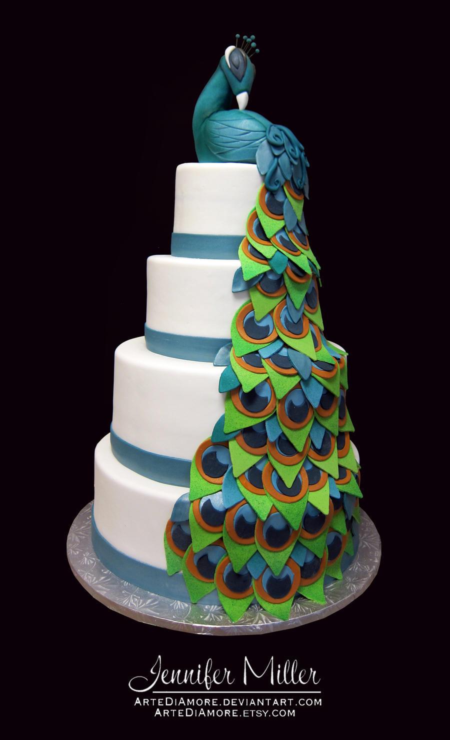 Peacock Wedding Cake by ArteDiAmore