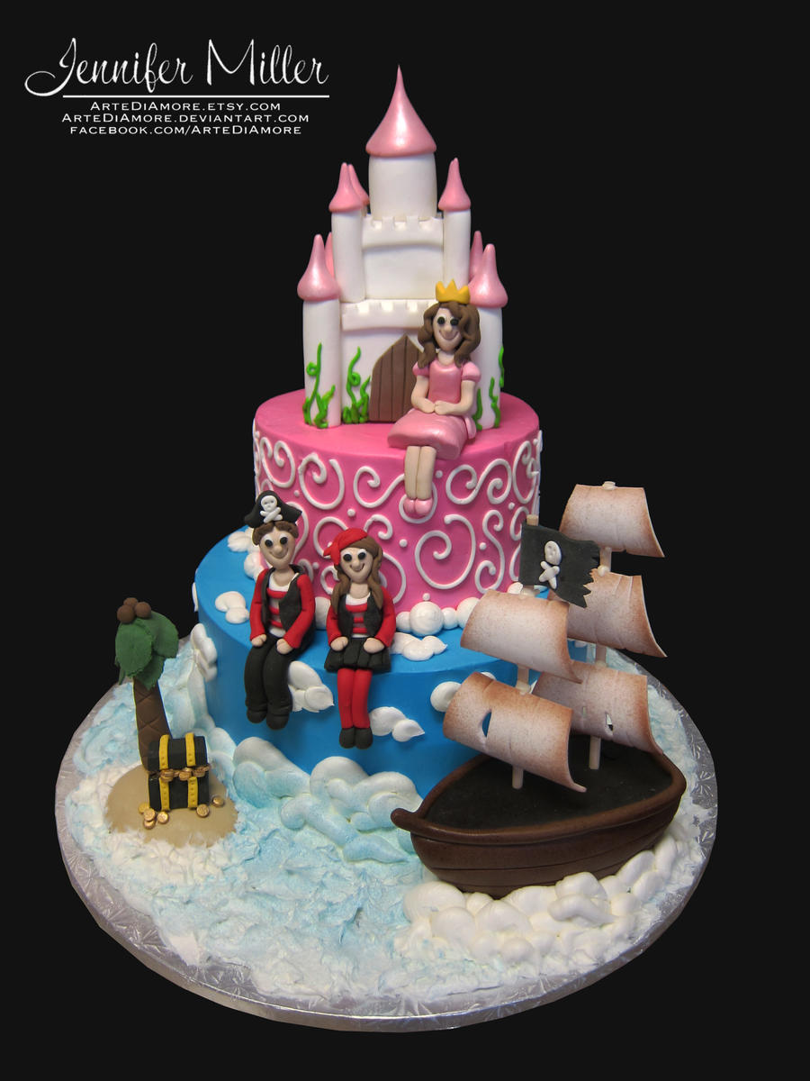 Pirate and Princess Cake by ArteDiAmore