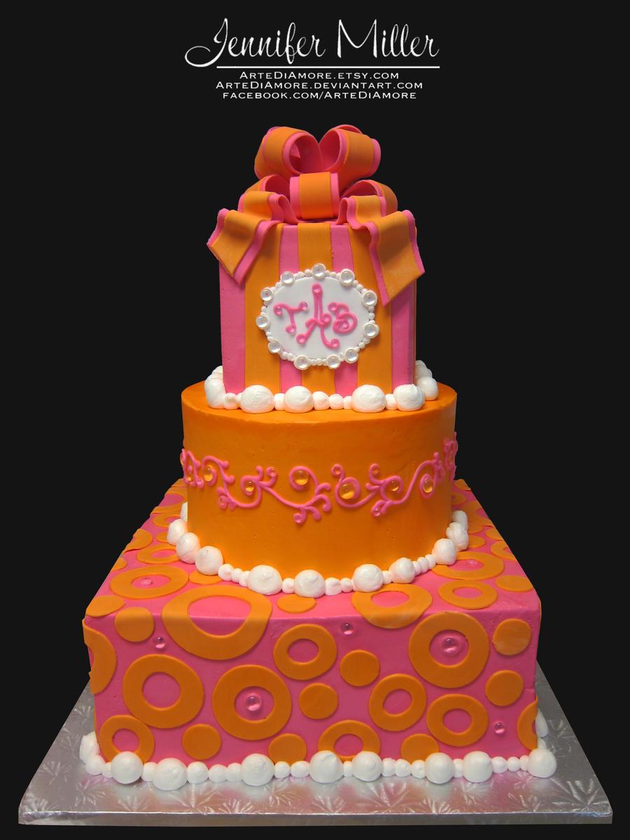 Pink And Orange Cake By Artediamore On Deviantart