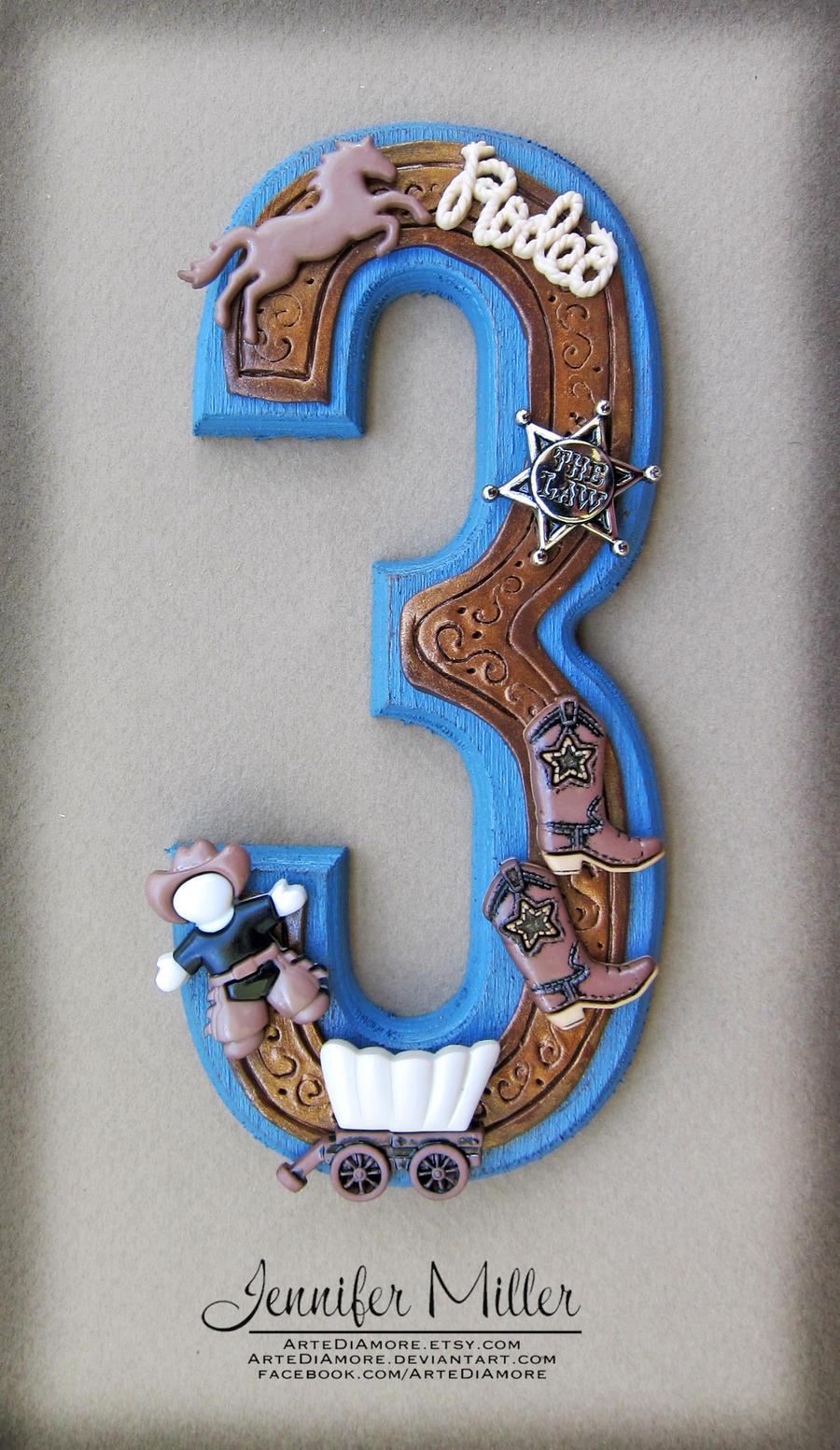 Art Cake Kuwait Number : Cowboy Number Cake Topper by ArteDiAmore on deviantART