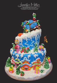 The Grinch and Whoville Cake