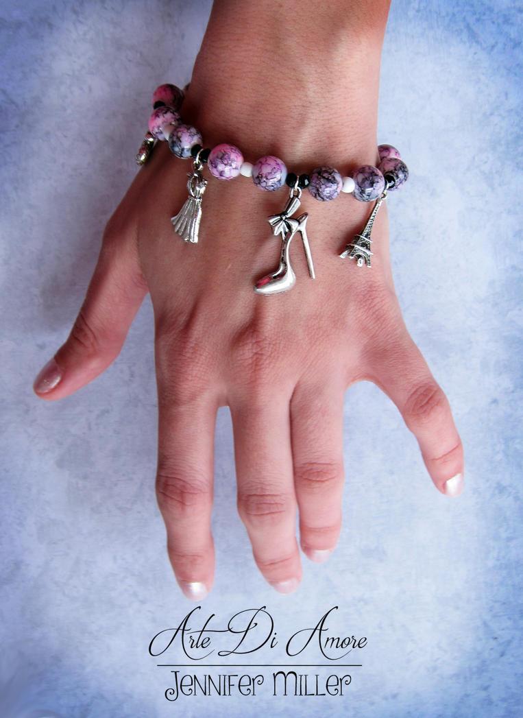 Paris Fashion Beaded Charm Bracelet by ArteDiAmore