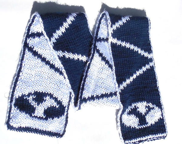Knit Hat Patterns With Ear Flaps : BYU Double Knit Scarf with Free Pattern by StarbeamerPatterns on DeviantArt