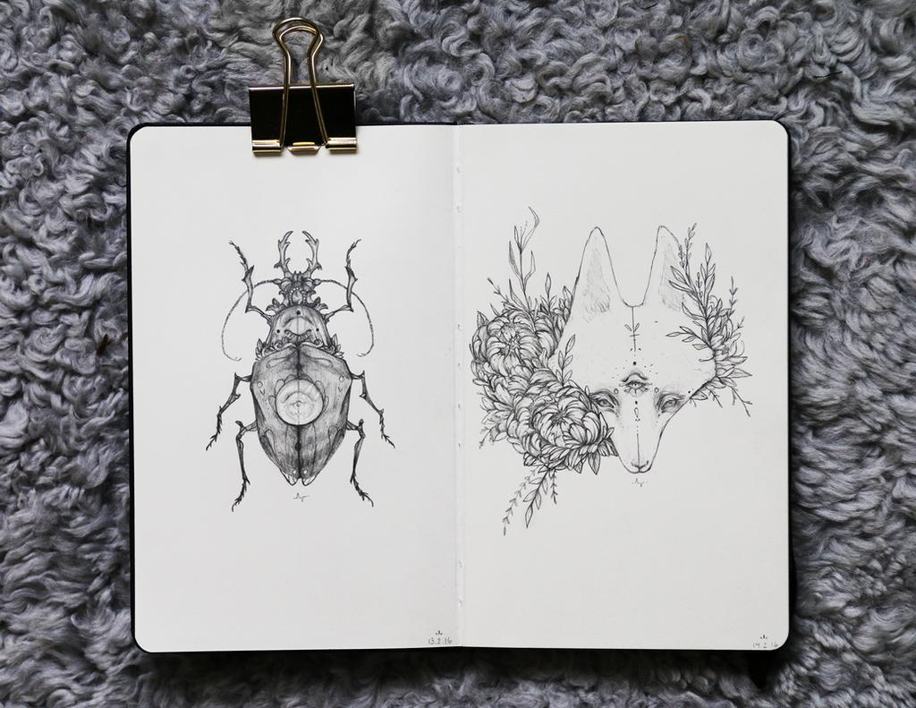 Moleskine Fox n Beetle by Kasvei