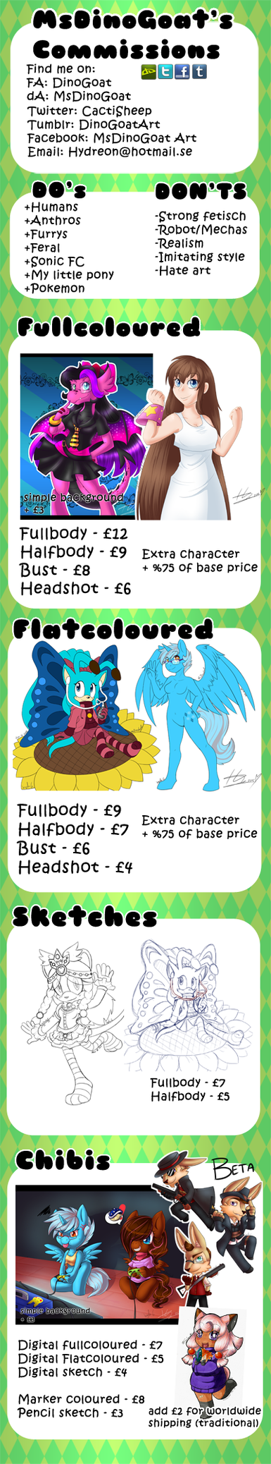 Commission price sheet 2015 by MsDinoGoat