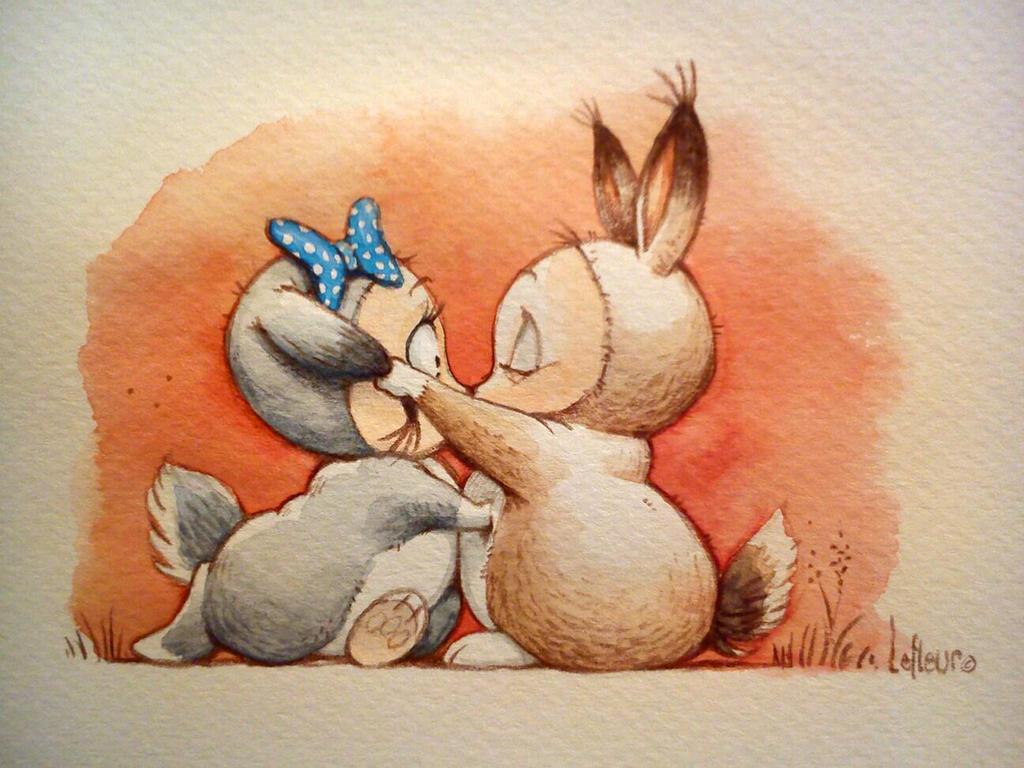 Kissing bunnies by Spoonygee