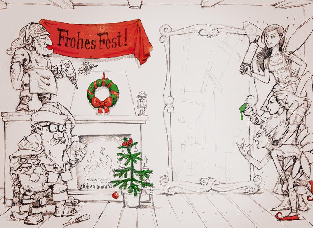 Elves vs. dwarfs by Spoonygee