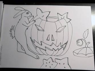 Inktober Star fruit and Pumpkin