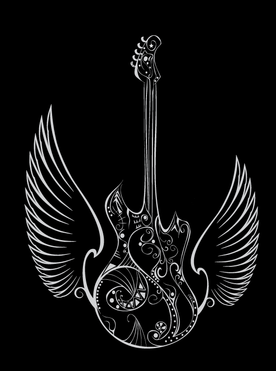 Love Music Guitar Wings by Orriart