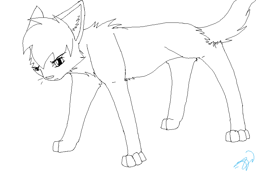 Cat Lineart by sithdog1 Sad Warrior Cat Outlines