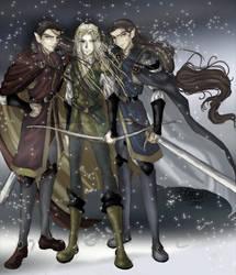 Legolas, Elladan, and Elrohir by shiryuu