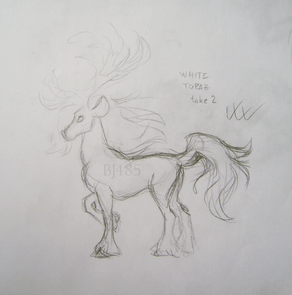 White Topaz Deer Horse (take 2) by BillieJean485