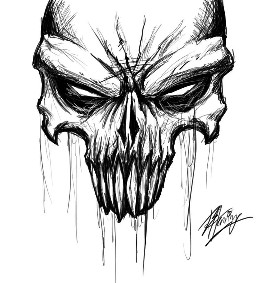 digital skull sketch by brandonhenning on deviantart