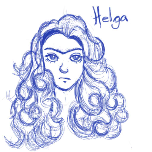 Helga Pataki big hair sketch by Abelista
