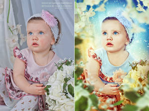 Portrait retouch. Befor and after.