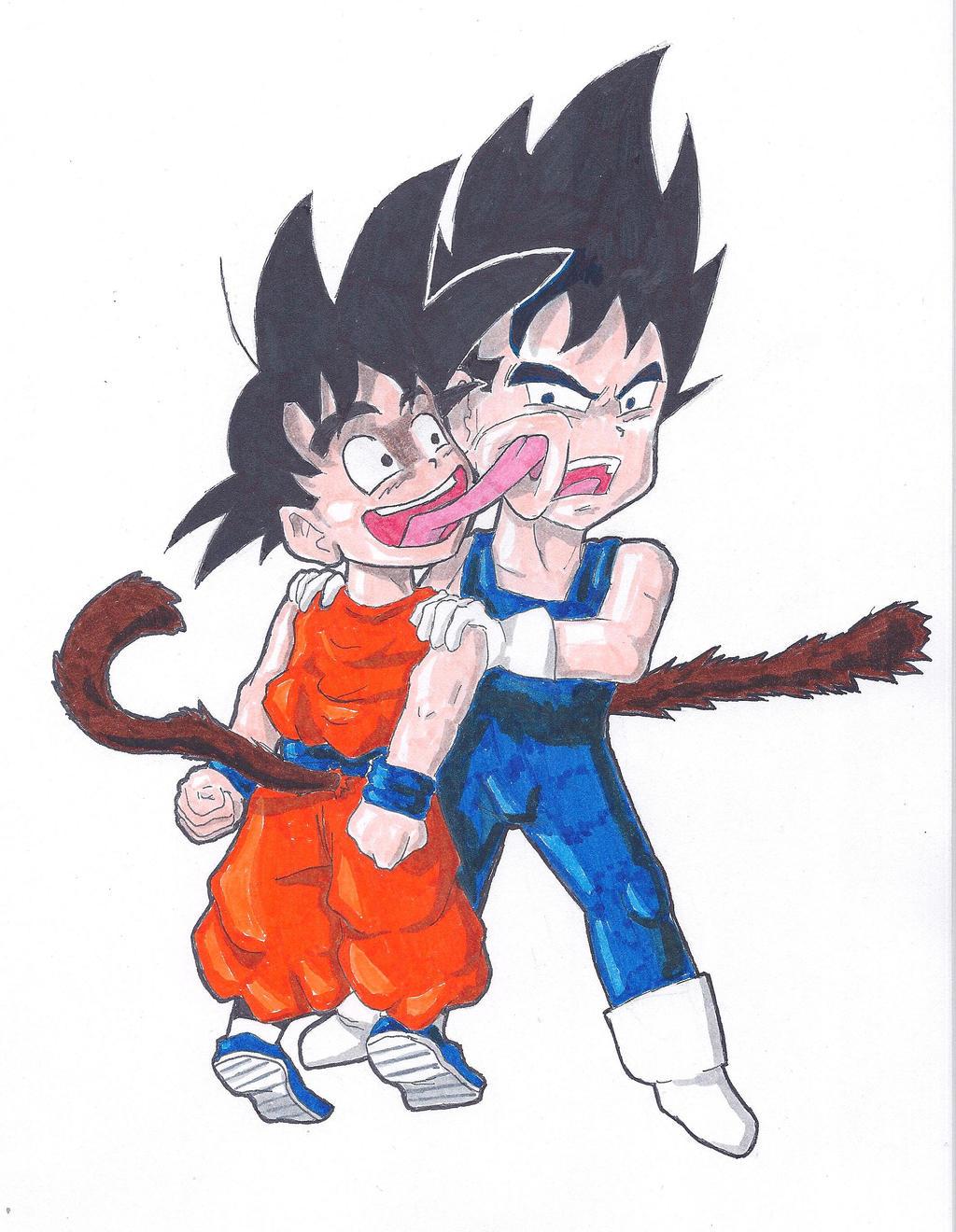 Kid Goku And Kid Vegeta Kid Goku Says Hi to Ki...
