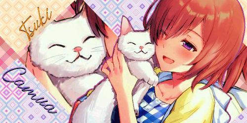 Banner anime manga girl and cat