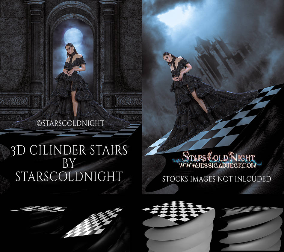 3D checkered  Cilinder stairs